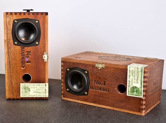 Custom Cedar Cigar Box Powered Speakers