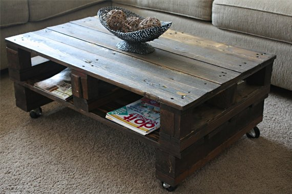 Diy pallets cool material for Pallet coffee table instructions