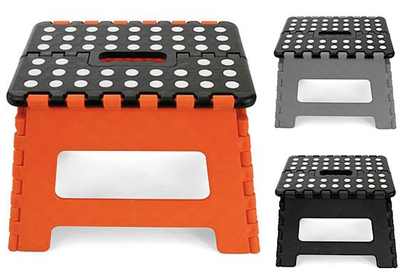 Kikkerland Easy Fold Step Stool Cool Material