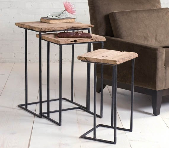 Recycled Railway Tie Side Tables