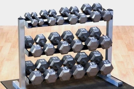 body-solid-gdr363-hex-dumbbells-with-rack