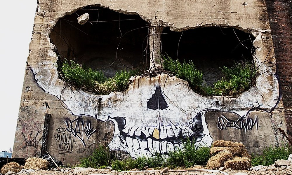 Artist-Transformed-a-Crumbling-Building-Into-a-Skull-2